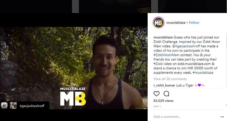 Muscleblaze Marketing Ziddi Hoon Main Tiger Shroff